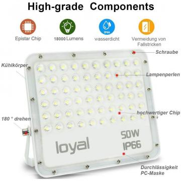 loyal 50W LED spotlight, 2700LM super bright LED spotlight, cold white 6000K, LED floodlight outdoor spotlight, IP66 waterproof floodlight outdoor spotlight for garden, garage, sports field, yard