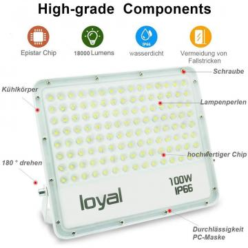 loyal 100W LED spotlight, 9000LM super bright LED spotlight, cold white 6000K, LED floodlight outdoor spotlight, IP66 waterproof floodlight outdoor spotlight for garden, garage, sports field, yard
