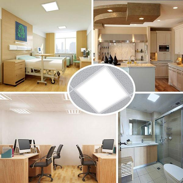 LED Flat Panel Light 48W Household Products Pure White Super Bright Embedded Slim Ceiling Light 600*600, Cool White Light 6000K Square Light Office Kitchen Bathroom Light [Energy Class A+]