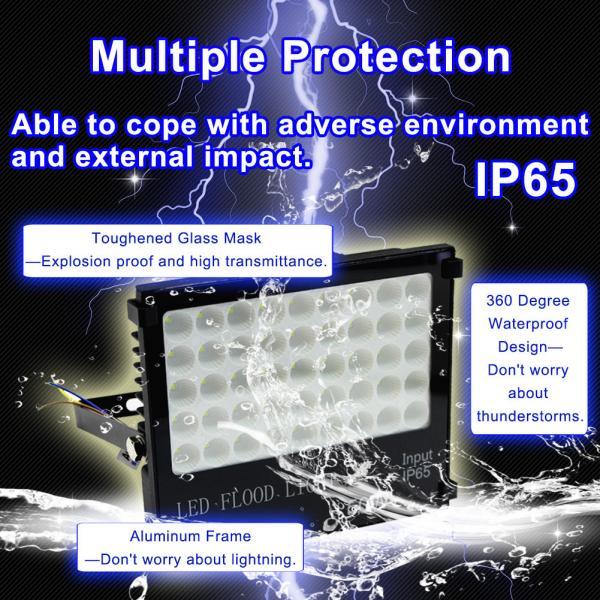 50W LED Flood Light IP65 Waterproof Outdoor Safety Light 5000LM 6000K Daylight White Outdoor Flood Light Wall Light for Garden Garage Warehouse Parking Garden Road Street Square Flood Light
