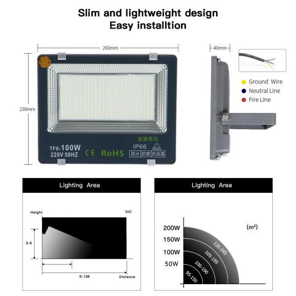 LED flood light projector star-100W LED garage light garden light super bright IP66 waterproof level 6000K outdoor lighting