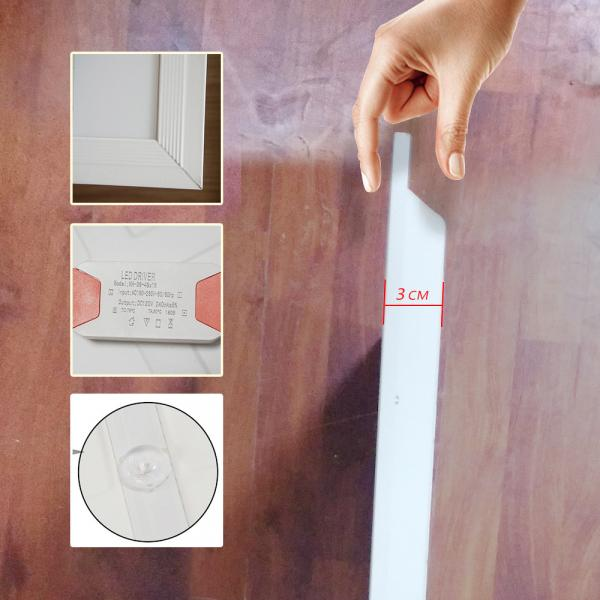 LED flat panel light 48W household items pure white super bright embedded ultra-thin ceiling light 600*600, cold white light 6000K square light office kitchen bathroom light [energy class A+] (two per box)