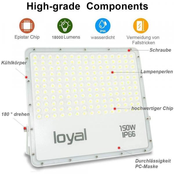 loyal 150W LED spotlight, 13500LM super bright LED spotlight, cold white 6000K, LED floodlight outdoor spotlight, IP66 waterproof floodlight outdoor spotlight for garden, garage, sports field, yard